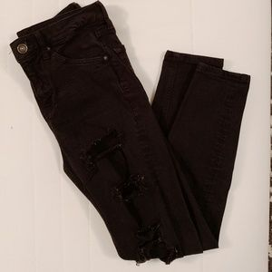 Black Topshop Jamie Jeans with Rips